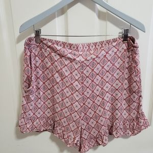 Ruffly BCBG Pattern Pink White High Waist Shorts
